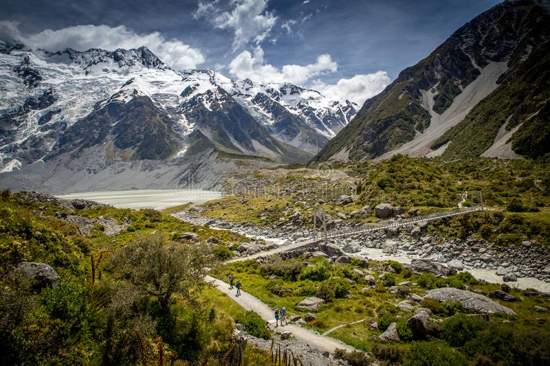 A scenic track through an alpine valley leading to a glacial lake. A view down over the Valley track leading to the glacier lake in Mt Cook National Park, New stock photos