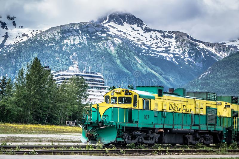 Scenic train from Skagway to White Pass Alaska royalty free stock image
