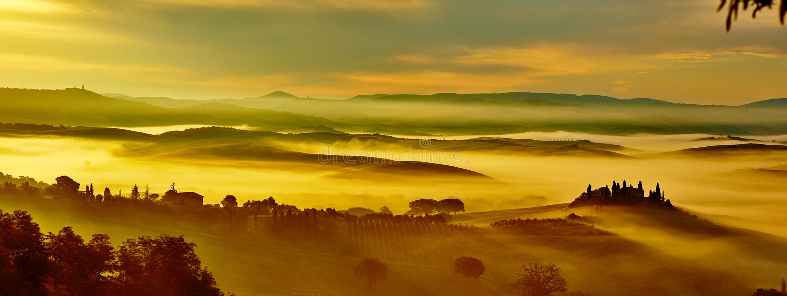Scenic Tuscany landscape with rolling hills royalty free stock photo