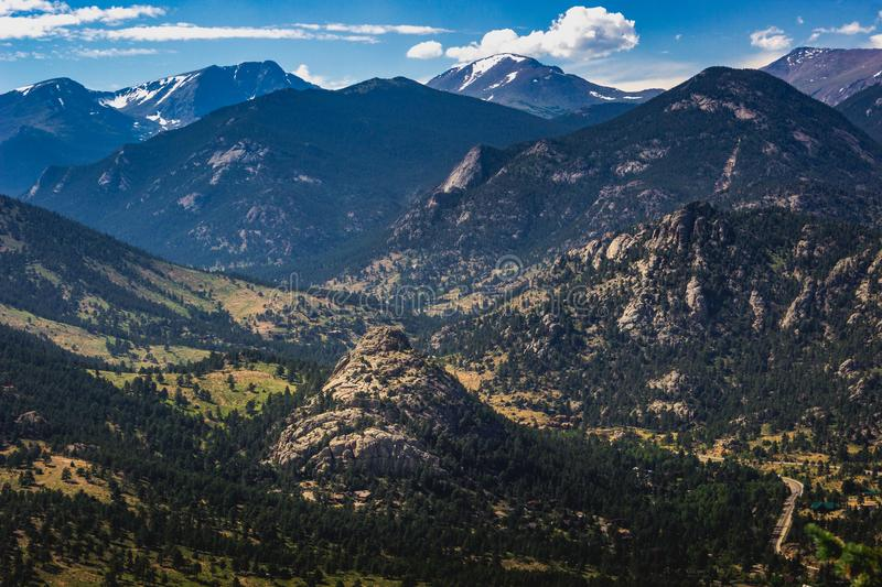 Estes Park Aerial. Scenic valley and snow-covered peaks under a blue sky with clouds in Estes Park, Colorado near the Rocky Mountain National Park. Aerial view royalty free stock images
