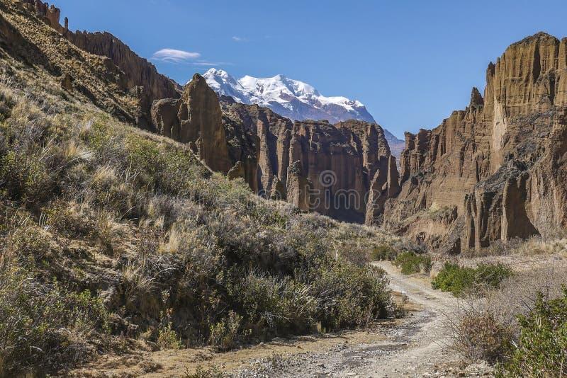 Valley of Spirits Valle de las Animas, Illimani mountain as background, La Paz, Bolivia royalty free stock photo