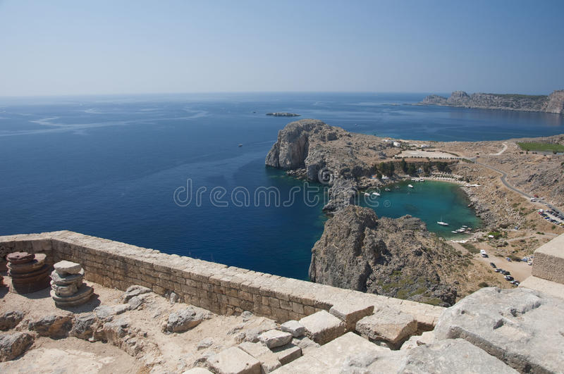 Scenic view from acropolis to the harbour, Lindos royalty free stock photo