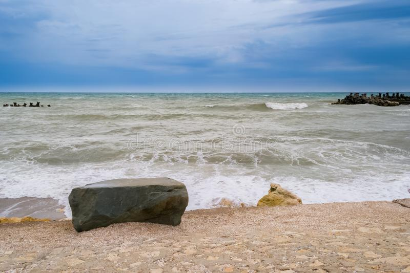 Agitated sea after storm. Scenic view of agitated sea after storm royalty free stock images
