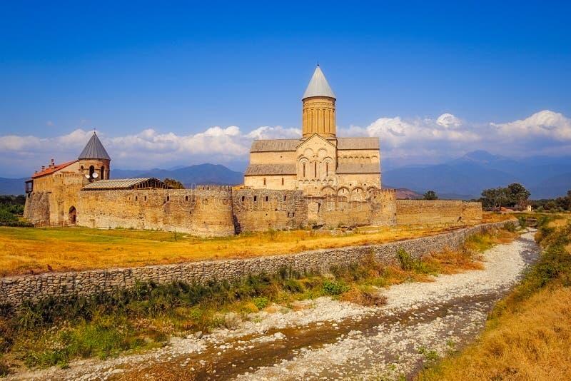 Scenic view of Alaverdi monastery in Kakheti region of Georgia stock image