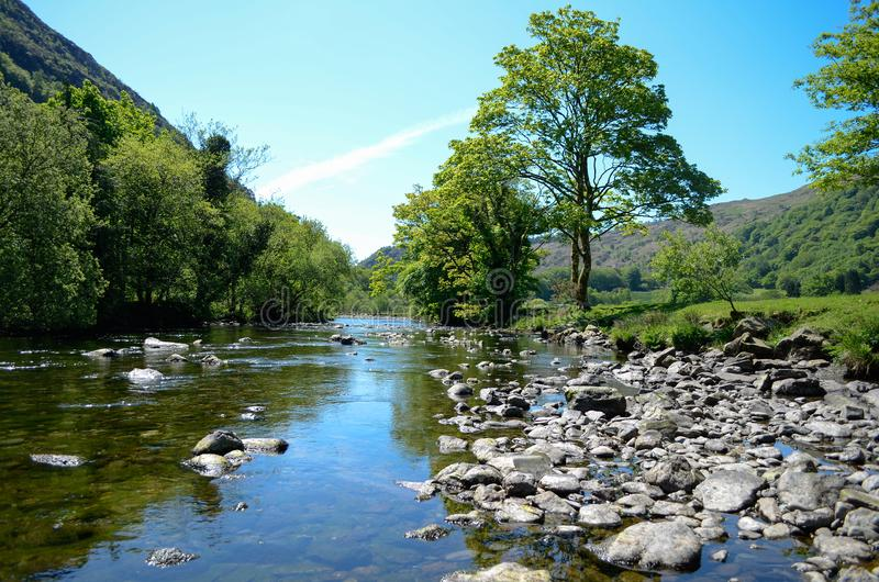 Scenic sunlit view along a calm river with a distinctive tree on one bank. A sunlit view along a river in Snowdonia, with calm waters running between rocks and royalty free stock image