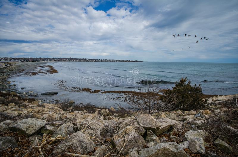 Scenic view along the Cliff Walk in Newport Rhode Island, early spring day stock photos