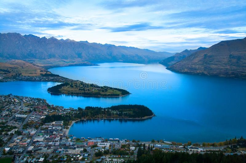 Queenstown New Zealand, The Remarkables and Lake Wakatipu royalty free stock photography