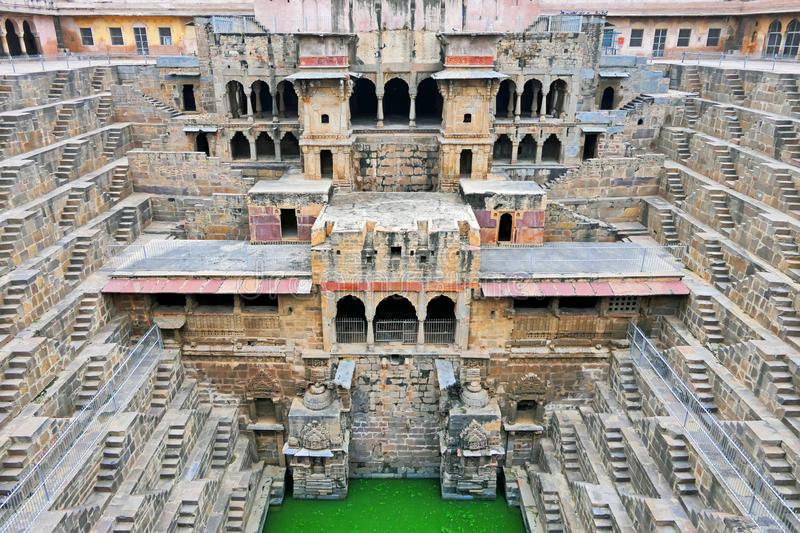 Scenic View of The Ancient Chand Baori Stepwell in the Historical Village Abhaneri, Agra Region, India. Architectural Marvel of The Ancient Step Well Chand Baori royalty free stock images