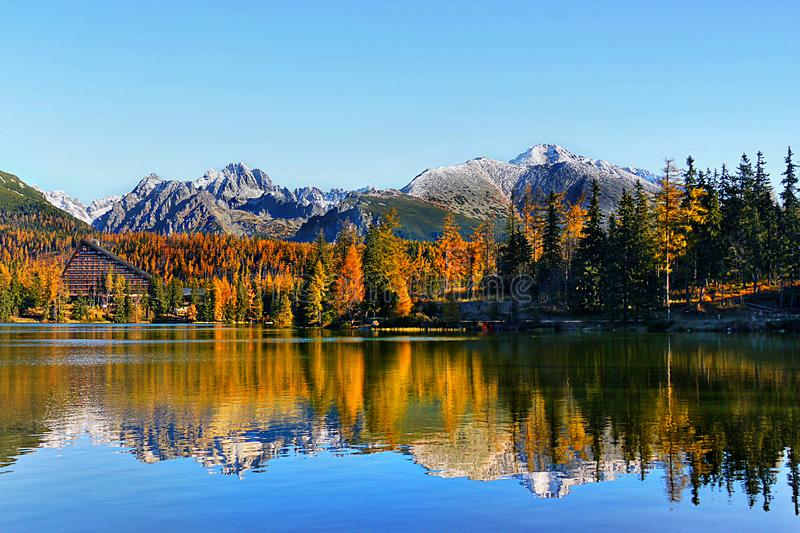 Scenic Autumn Landscape Lake Trees Sunrise stock photos
