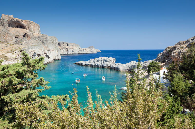 St. Paul bay, Lindos - Rhodes island - Greece royalty free stock images