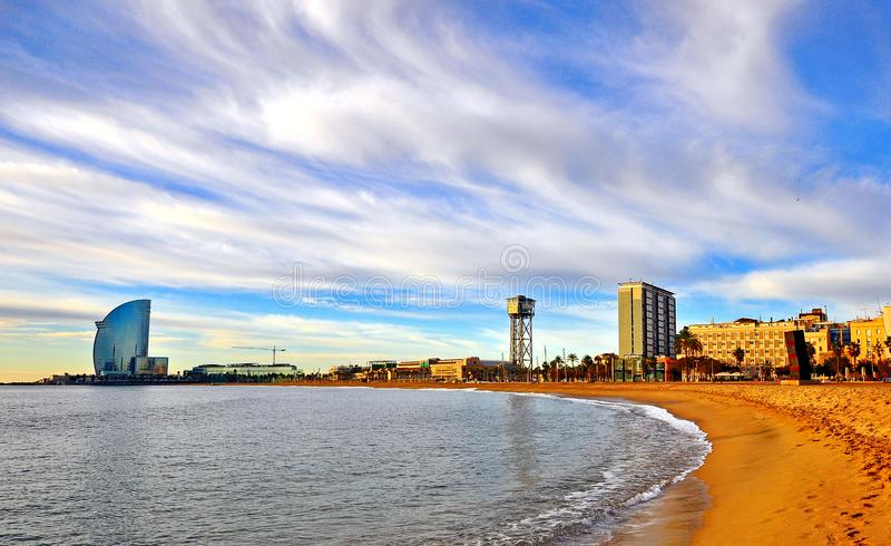 Scenic view of beach of Barcelona. Scenic view of the beach of Barcelona royalty free stock image