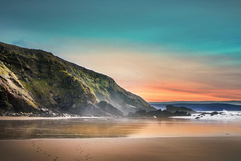 Scenic View of Beach During Dawn royalty free stock photo