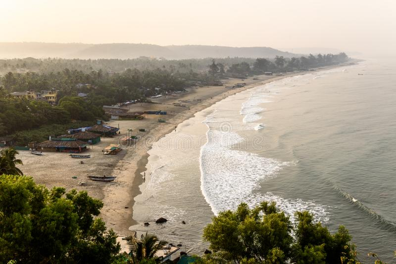 Beautiful sunshine coastline in goa stock photography