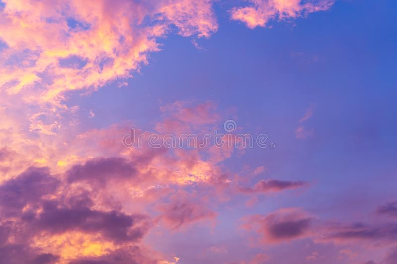 Scenic view of beautiful blue sky with clouds in sunset time. stock photography