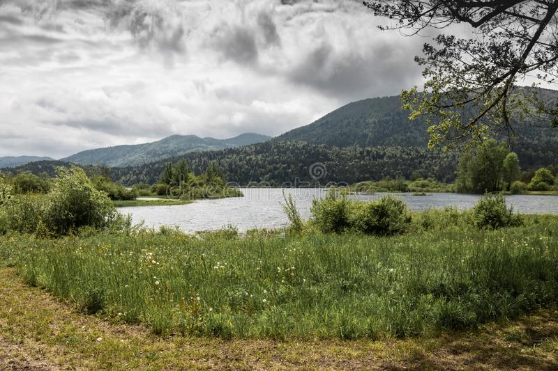 Scenic view on beautiful intermittent lake cerknica, with water, spring season, slovenia. Scenic view on beautiful intermittent lake cerknica, with water, spring royalty free stock photo