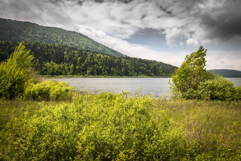 Scenic view on beautiful intermittent lake cerknica, with water, spring season, slovenia. Scenic view on beautiful intermittent lake cerknica, with water, spring royalty free stock photos