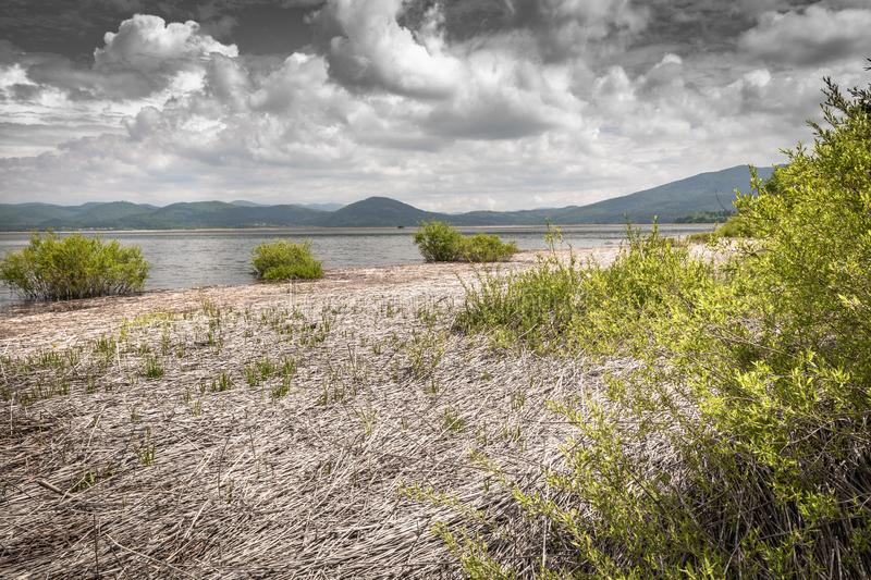 Scenic view on beautiful intermittent lake cerknica, with water, spring season, slovenia. Scenic view on beautiful intermittent lake cerknica, with water, spring royalty free stock photography