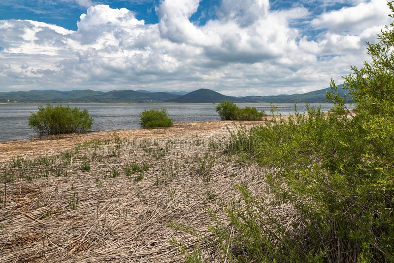 Scenic view on beautiful intermittent lake cerknica, with water, spring season, slovenia. Scenic view on beautiful intermittent lake cerknica, with water, spring stock image