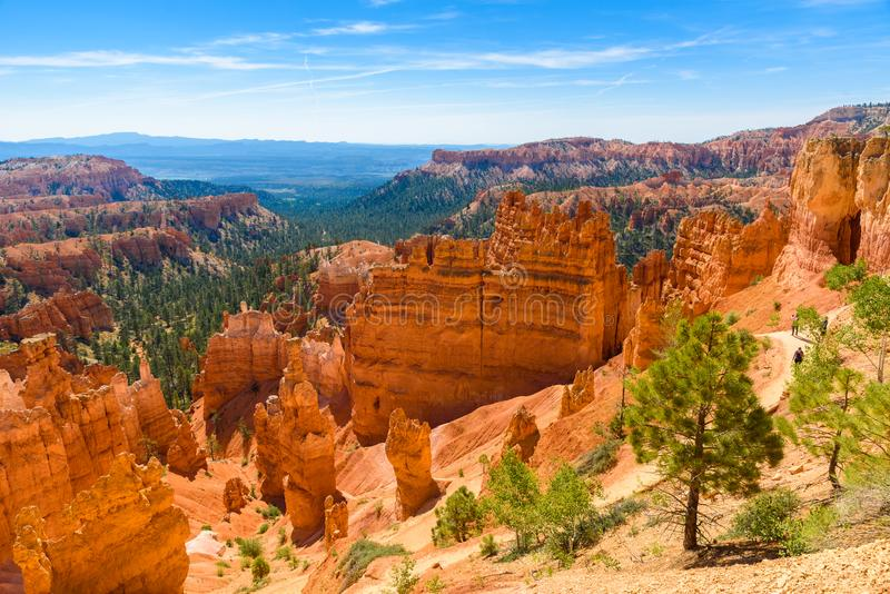 Scenic view of beautiful red rock hoodoos and the Amphitheater from Sunset Point, Bryce Canyon National Park, Utah, United States royalty free stock images