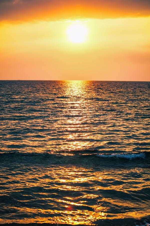 Scenic view of beautiful sunset above the sea. In Sihanoukville Otres beach, Cambodia stock photos