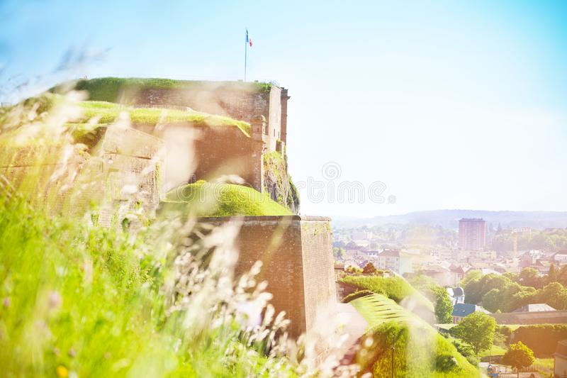 Scenic view of Belfort city and Vauban citadel. Scenic view of Belfort city and famous Vauban citadel at sunny day stock photo