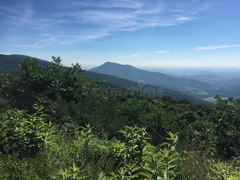 Scenic View of the Blue Ridge Mountains in Virginia USA. Summer season landscape scenic view of the Appalachian Mountains in Shenandoah National Park Virginia royalty free stock photo