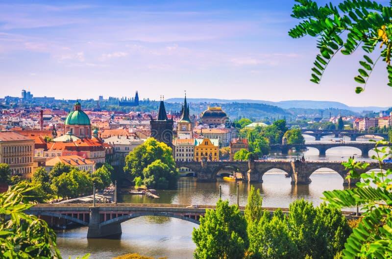 Scenic view on bridges over Vltava river in Prague city royalty free stock image