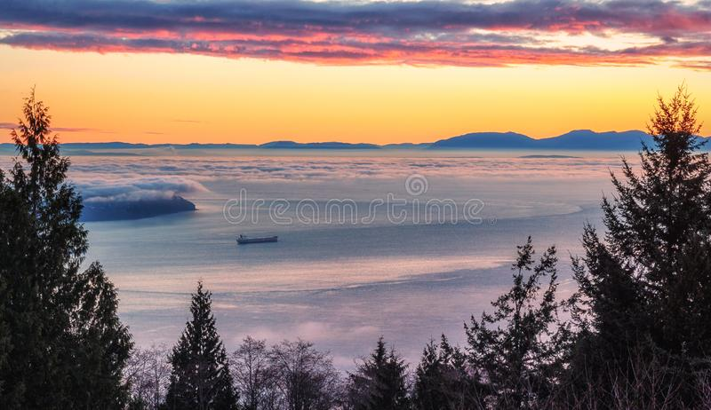 Burrard Inlet Sunset. View from West Vancouver. royalty free stock image