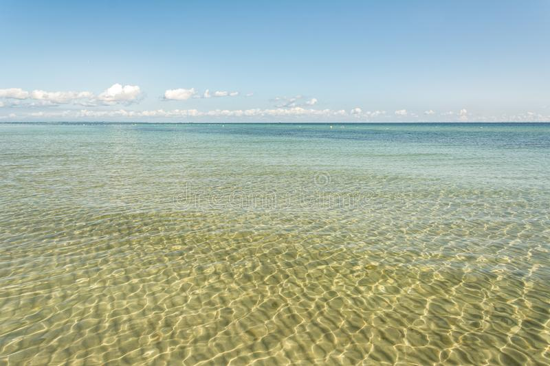 Scenic view of the calm, clear and shallow water at the Baltic Sea stock photo