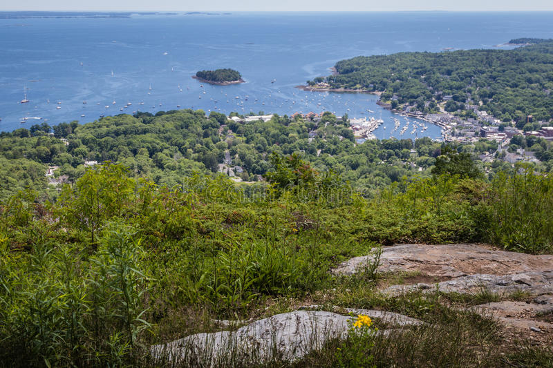 Scenic view of Camden Harbor from Mount Battie stock image