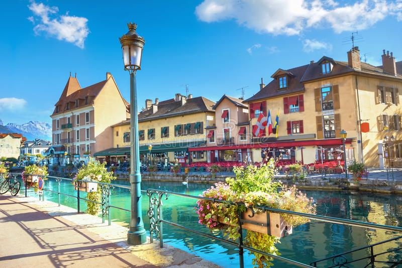 Scenic view on Canal du Thiou in Annecy. French Alps, France stock photos