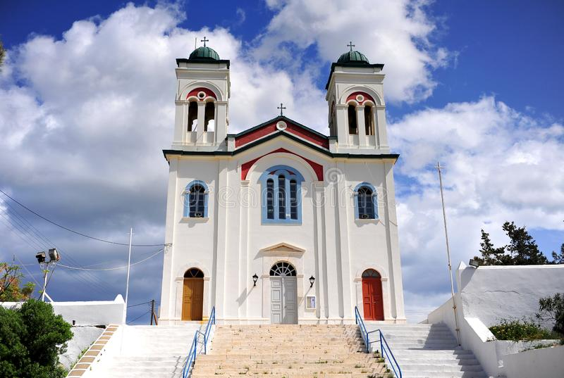 Cathedral of Naoussa town, Paros Island, Cyclades, Greece stock photography
