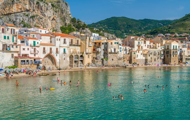 Scenic view in Cefalù on a sunny summer day. Province of Palermo, Sicily, southern Italy. stock images