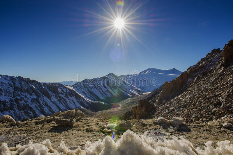 Scenic view on Chang La Pass, the third highest driveable mountain pass in the world 5300m. above sea level, Ladakh, J&K, India. Scenic view on Chang La Pass stock photography