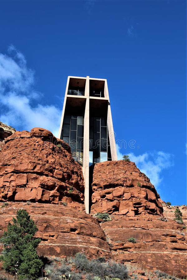 Chapel of the Holy Cross, Sedona, Arizona, United States. Scenic view of Chapel of the Holy Cross during the Spring, located in Sedona, Arizona, United States royalty free stock photography