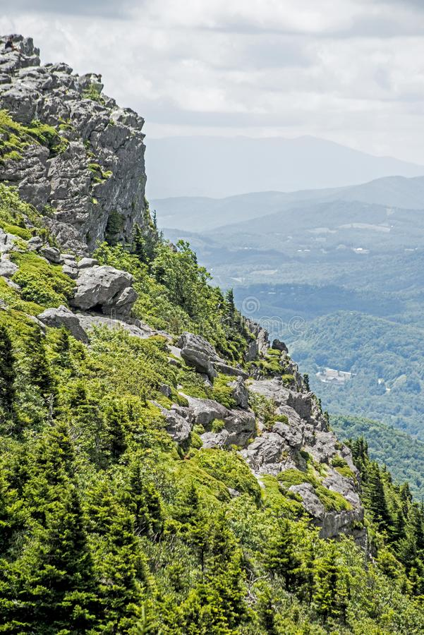 Vertical - Scenic view from a mountain peak on Chimney Rock State Park. stock photography