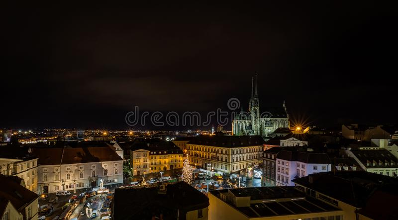 Scenic view on chrismas Brno center, Zelny trh and cathedral of Saint Peter royalty free stock image