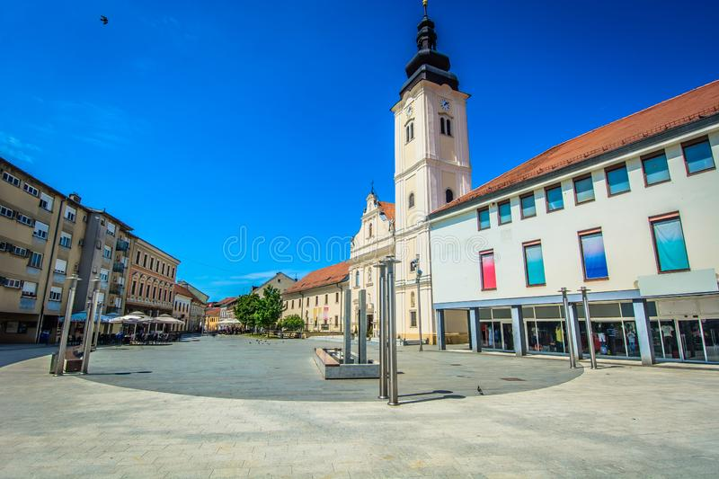 Famous square in Cakovec, Croatia. Scenic view at city center of Cakovec town in Northern Croatia, church landmark stock photography