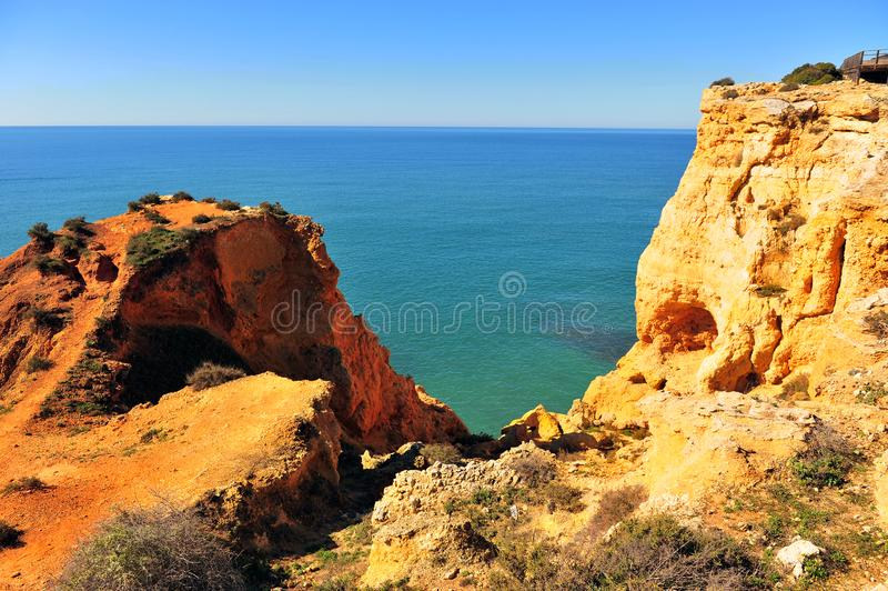Scenic view of cliffs on Carvoeiro beach stock photography
