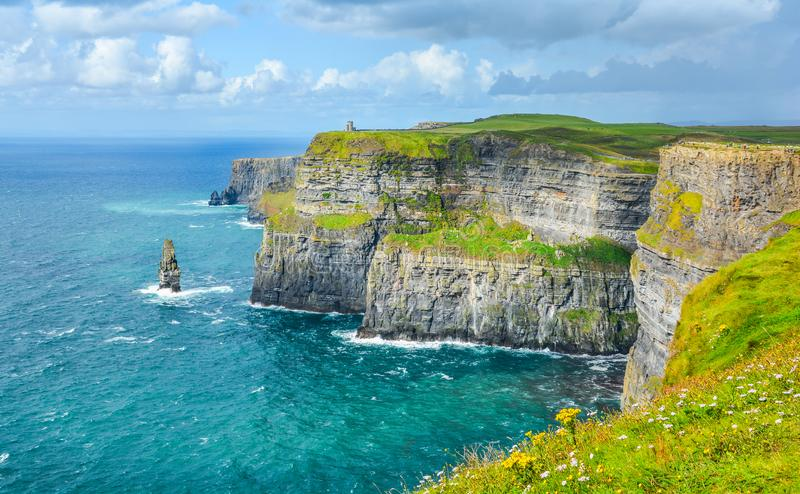 Scenic view of Cliffs of Moher, one of the most popular tourist attractions in Ireland, County Clare. The Cliffs of Moher are sea cliffs located at the royalty free stock images