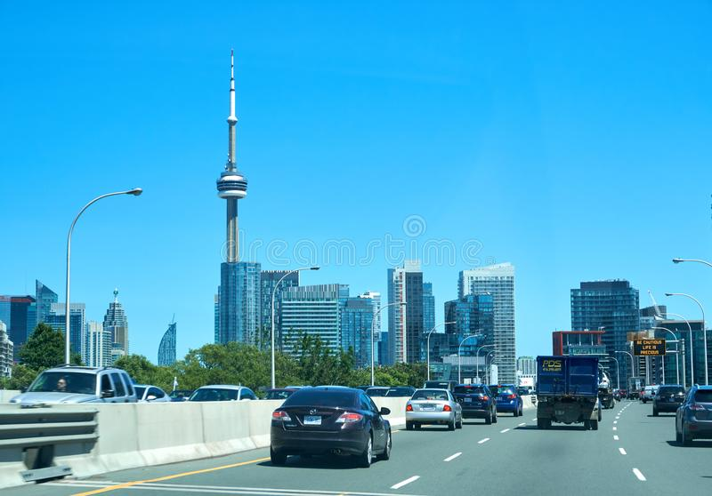 Scenic view of CN Tower in Toronto, Ontario. TORONTO, CANADA - JULY 15, 2018: Scenic view of CN Tower in Toronto, Ontario, Canada. CN Tower is the world's 9th stock photo