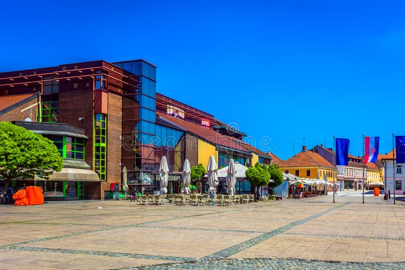 Colorful scenery in Cakovec, Croatia. Scenic view at colorful architecture in city center of town Cakovec, small tourist town in Northern Croatia, Europe royalty free stock images