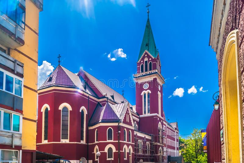 Colorful architecture in Sarajevo city, Eastern Europe. stock photo