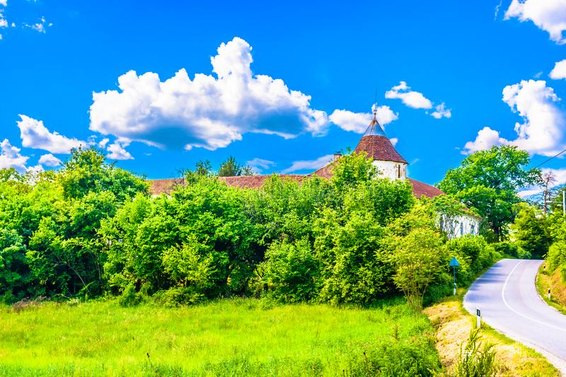 Colorful picturesque scenery in Zagorje, Europe. Scenic view at colorful village in Zagorje region, Northern Croatia royalty free stock photo
