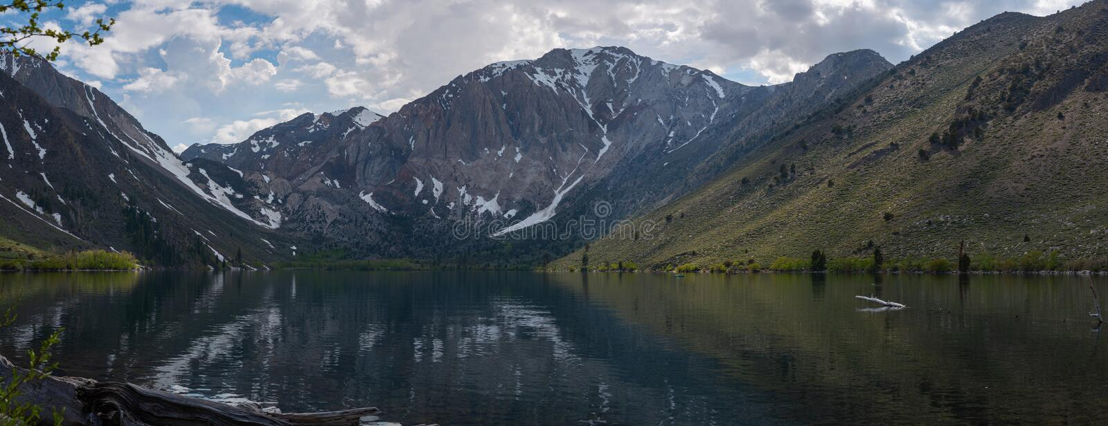 Panorama view of Convict Lake in California. Scenic view of Convict Lake at Lake Mammoths in California during the day stock images