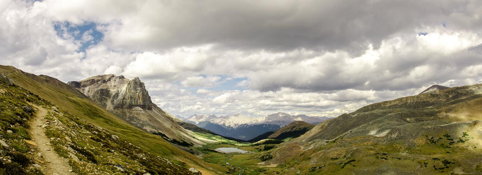 Go hiking Skyline trail, you will see that scenic view of Curator Lake in the Rocky Mountains royalty free stock photo