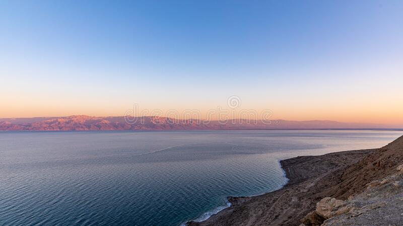 Scenic view at Dead Sea at the evening. royalty free stock photos