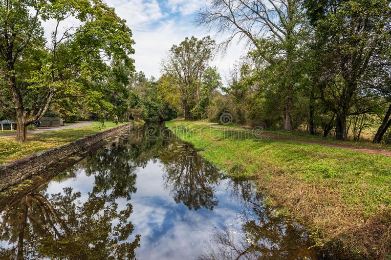 Scenic View Delaware Canal. A scenic view of the Delaware Canal in Bucks County Pennsylvania royalty free stock photography