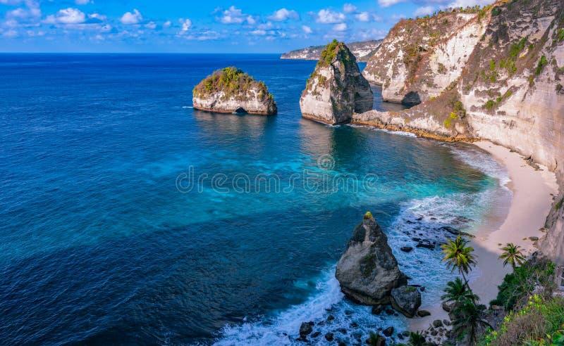 Scenic view of Diamond Beach in Nusa Penida,Bali island, Indonesia.  stock photography