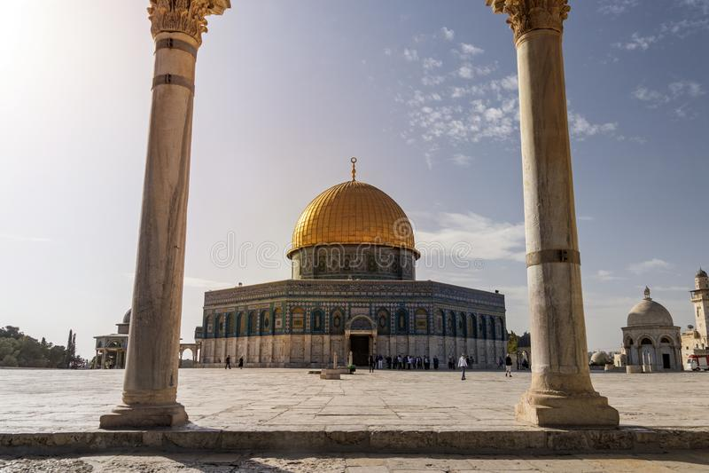 Scenic view of the Dome of the Rock through the arches of the scales of souls in old city of Jerusalem, Israel. The Islamic shrine royalty free stock photography